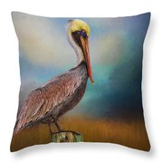 Pelican Blues Throw Pillow
