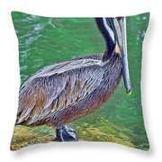 Pelican By The Pier Throw Pillow