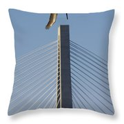 Pelican Diving Arthur Ravenel Jr Bridge Over The Cooper River In Charleston South Carolina Throw Pillow