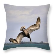 Pelican Diving For Dinner Throw Pillow