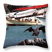 Pelican Drying Wings Throw Pillow