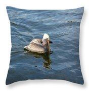 Pelican Eating Dinner Throw Pillow