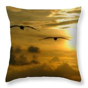 Pelican Flight Into The Clouds Throw Pillow