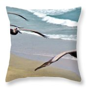 Pelican Fly-by Throw Pillow