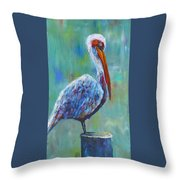 Pelican Throw Pillow by Holly Donohoe