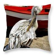 Pelican In Mykonos II Throw Pillow