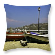 Pelican In Mykonos Throw Pillow