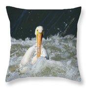 Pelican In Rough Water Throw Pillow