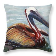 Pelican In The Water Throw Pillow