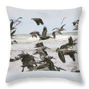 Pelican Migration  Throw Pillow