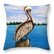 Pelican On Post 2 Throw Pillow