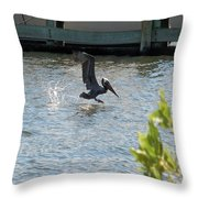Pelican On The Waves Throw Pillow