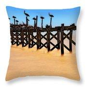 Pelican Pier Near Pass Christian - Mississippi Throw Pillow