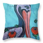 Pelican Poppies 1 Throw Pillow