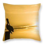 Pelican Silhouette At Sunset Throw Pillow