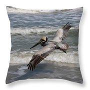 Pelican Soaring  Throw Pillow