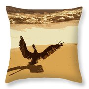 Pelican Spreads It's Wings Throw Pillow