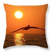 Pelican Sunset Throw Pillow