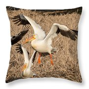 Pelican Takeoff Throw Pillow