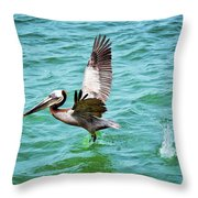 Pelican Taking Flight Throw Pillow