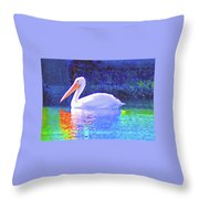Pelican With Blue Throw Pillow