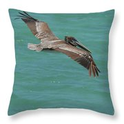 Pelican With His Wings Extended Over The Tropical Aruban Waters Throw Pillow