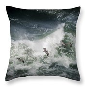 Pelicans And Surf Throw Pillow