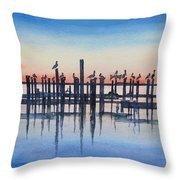 Pelicans At Dusk Throw Pillow