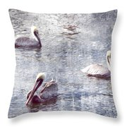 Pelicans At Rest Throw Pillow