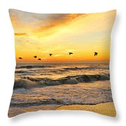 Pelicans At Sunrise  Signed 4651b 2  Throw Pillow