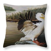 Pelicans At The Confluence Throw Pillow