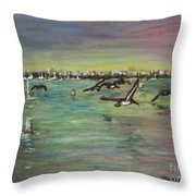 Pelicans Fly Throw Pillow