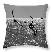 Pelicans Flying By - Black And White Throw Pillow