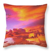 Pelicans Flying Into Sunset  Throw Pillow