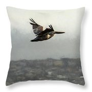 Pelicans Flying Over San Francisco Bay Throw Pillow