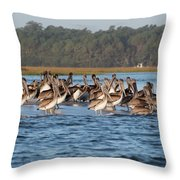 Pelicans, Murrells Inlet Sc Throw Pillow