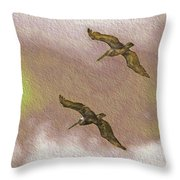Pelicans On Cave Wall Throw Pillow