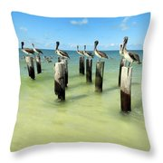 Pelicans On Pier Pilings Throw Pillow