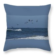 Pelicans Over The Atlantic Throw Pillow