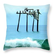 Pelicans Roost 1 4/25 Throw Pillow