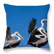 Pelicans Take Flight Throw Pillow