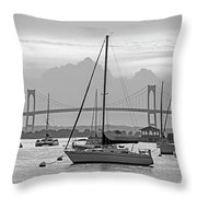 Pell Bridge Newport Harbor Newport Ri Rhode Island Purple Sunset Black And White Throw Pillow