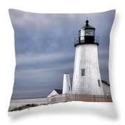 Pemaquid Point Lighthouse In Winter Throw Pillow
