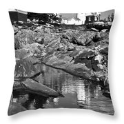 Pemaquid Point Lighthouse Maine Black And White Throw Pillow