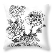 Pen And Ink Roses Throw Pillow
