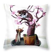Pen-jing Dragon Plum Tree Throw Pillow