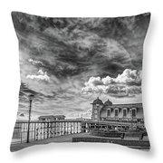 Penarth Pier Morning Light 1 Mono Throw Pillow