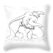 Pencil Drawing Of Walt Disney's Dumbo Throw Pillow