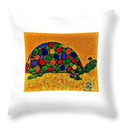 Pencil Sketch And Water Color Turtle Of The Rainbow Throw Pillow