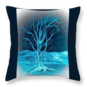 Pencil Sketch Of A Tree And Hills In Abstract Throw Pillow
